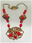 Antique Necklace Of Red Glass & Teardrops