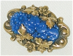 Blue Pin W Gold Leaves Over Glass