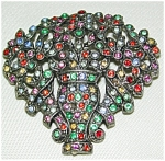 30's Multi-colored Flower Basket Pin