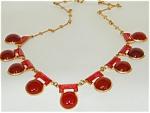30's Deco Necklace W Carnelian Glass