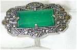 20's Sterling Ring W Green, Marcasites