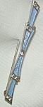 Sterling Bar Pin Bow W Blue Enamel