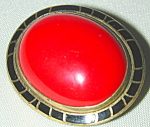 Art Deco Pin W Large Red Cabachon