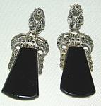 Sterling, Onyx, Marcasite Dangle Earrings