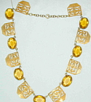 Topaz Deco Necklace W Gold Medallions