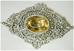 Lacy Old Victorian Silver Pin - Citrine?