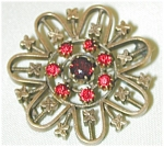 Victorian Blossom Pin W Red Stones