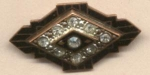 Black Enamel Victorian Pin W Brilliants