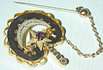 Victorian Pin W Crescent, Star & Amethyst