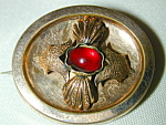 Goldfilled Victorian Oval Pin W Red