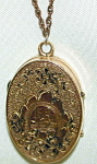 Victorian Finely Etched Oval Locket