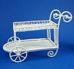 Dollhouse Miniature Wicker Style Metal Tea Cart