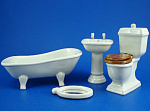 Dollhouse Miniature Porcelain Bathroom Set
