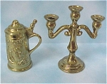 Brass Finish Pot Metal Candle Stick And Stein