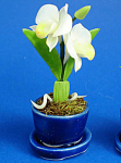 Dollhouse Miniature Flowers In Porcelain Planter