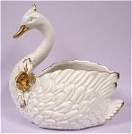 Ceramic White Swan Planter