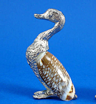 Miniature Metal And Shell Duck