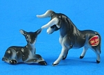 Miniature Bone China Fighting Bull And Calf