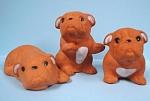 Red Pottery Bulldog Puppy Trio