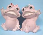 Unmarked Japan Pink Bisque Frog Pair