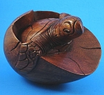 Large Carved Wood Sea Turtle Hatching