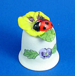 Hand Painted Ceramic Thimble - Ladybug On Pansy