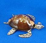 Miniature Metal And Shell Sea Turtle