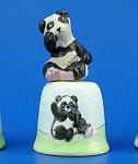 Hand Painted Ceramic Thimble - Panda