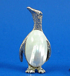 Miniature Metal And Shell Penguin