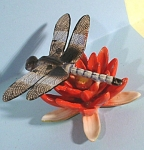 R170 Dragonfly On Red Water Lily