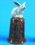 K4131 White Rabbit On Basket Thimble
