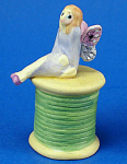 Handpainted Ceramic Thimble - Fairy On Spool