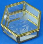 Miniature Glass Trinket Box, Bird Design
