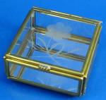 Miniature Glass Trinket Box, Flower Design