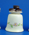 Hand Painted Ceramic Thimble - Cookies