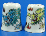 Hand Painted Porcelain Thimble Pair - Dragons