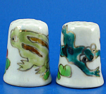 Hand Painted Porcelain Thimble Pair - Frogs