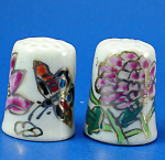 Hand Painted Porcelain Thimble Pair - Floral
