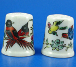 Hand Painted Porcelain Thimble Pair - Birds