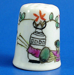 Hand Painted Porcelain Thimble - Planters