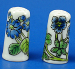 Hand Painted Porcelain Thimble Pair - Blue Floral
