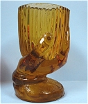 Amber Glass Hand Holding Dish Toothpick