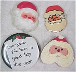 Three Santa Faces Pins & Good Boy Button