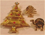 Chrismas Trees And Camel Pins