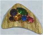 Unmarked Goldtone Multi-colored Rhinestone Pin