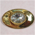 Unmarked Goldtone With Large Rhinestone Pin
