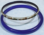 Cloisonne Metal & Blue Plastic Bangle Bracelets