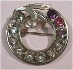Van Dell Sterling Silver Rhinestone Circle Pin