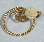 Wells Gold Filled Circle With Carved Rose