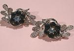 Coro Blue Rhinestone Flower Clip Earrings
